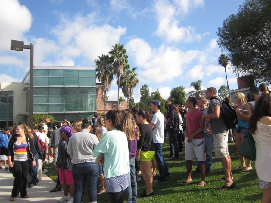 Quakers: Students file out of their classrooms on Thursday, Oct. 18 for an annual earthquake drill. It was also used as an opportunity to test the CLU Alert System, which notified students of the drill through email and text. Photo by Sara Schmachtenberger - Staff Photographer