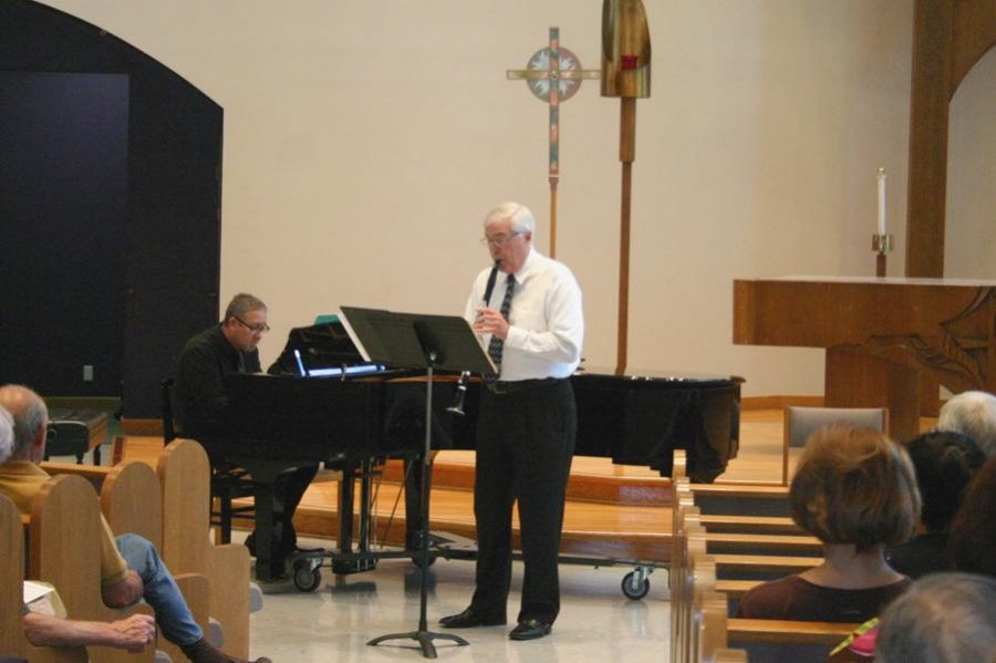 """A duo: Daniel Geeting performs Carl Maria Von Webber piece, """"Grand Duo Concertant, Opus 48"""" while Eric Kinsley accompanies on piano."""