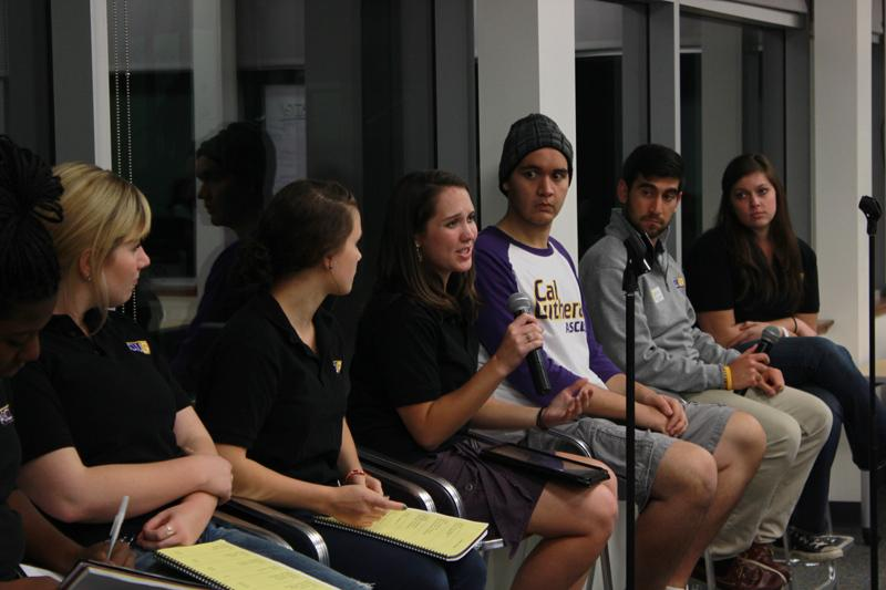 Student Government: ASCLU-G President Rebecca Cardone, third from left, answers a student's question during the senate's town hall meeting on Monday, Nov. 19. ASCLU-G allocates funding for organizations on campus. For 2012-2013, they had to cut down the requested budgets of all clubs. Photo by Brennan Whitmore - Staff Photographer