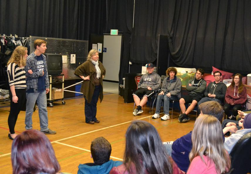 Ready, set, improv!: Fredrickson leads students in a game. Photo by Zachary Harper - Staff Photographer
