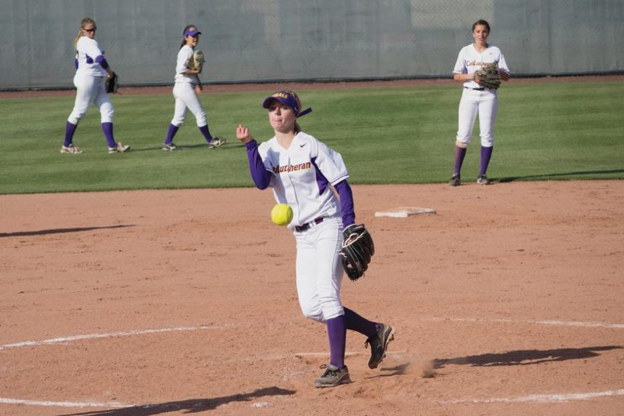 Double duty: Shonna Christianson contributed on the mound and at the plate for the Regals this weekend against Pomona-Pitzer.  Photo by Zack Harper - Staff Photographer