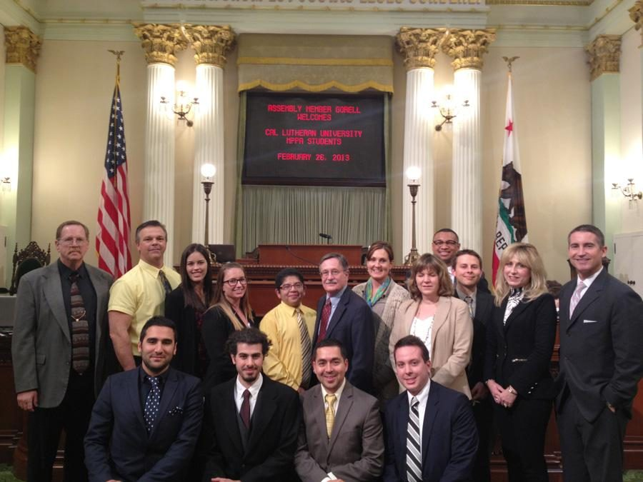 A glance at government: CLU students gather on the State Assembly floor with Assemblyman Jeff Gorell during their class trip to Sacramento.