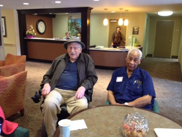 The Legacy Project: Students pair with senior citizens like Chuck Metchis (left) and Charles Graham (right) to learn and grow from each other through CLU's Senior Buddies program. Photo courtesy of Stacey Domingues
