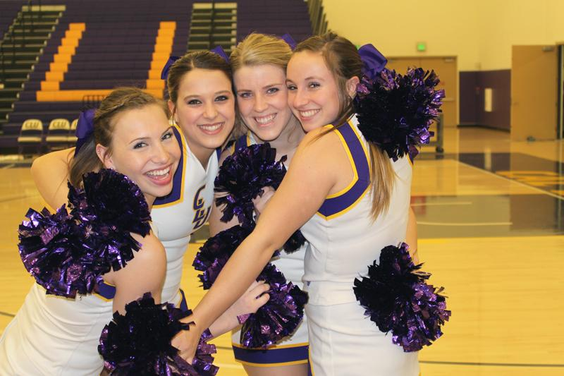Cheering their way to greatness:  Cheerleaders Tiffany Caprine, Tori Morris, Jordyn Niblack and Kendra Lewin represented CLU when they were featured in a Chrysler car commercial that aired during the Superbowl. The quartet hopes to cheer for all campus sports, bringing students school spirit year round. Photos by Anna Coulson-  Staff Photographer
