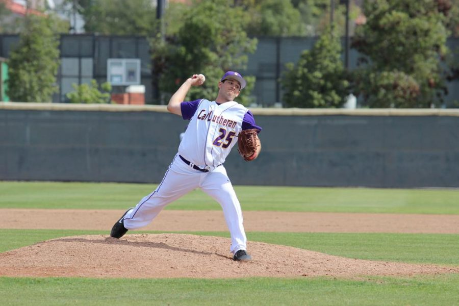 No offense needed: In the closest and lowest scoring game of the series against Pomona-Pitzer, Tyler Hebda threw 7 innings of shutout baseball en route to a 3-0 victory in Game 2 on Feb. 22 at Ullman Stadium.  Photo by Isabella Del Mese - Staff Photographer