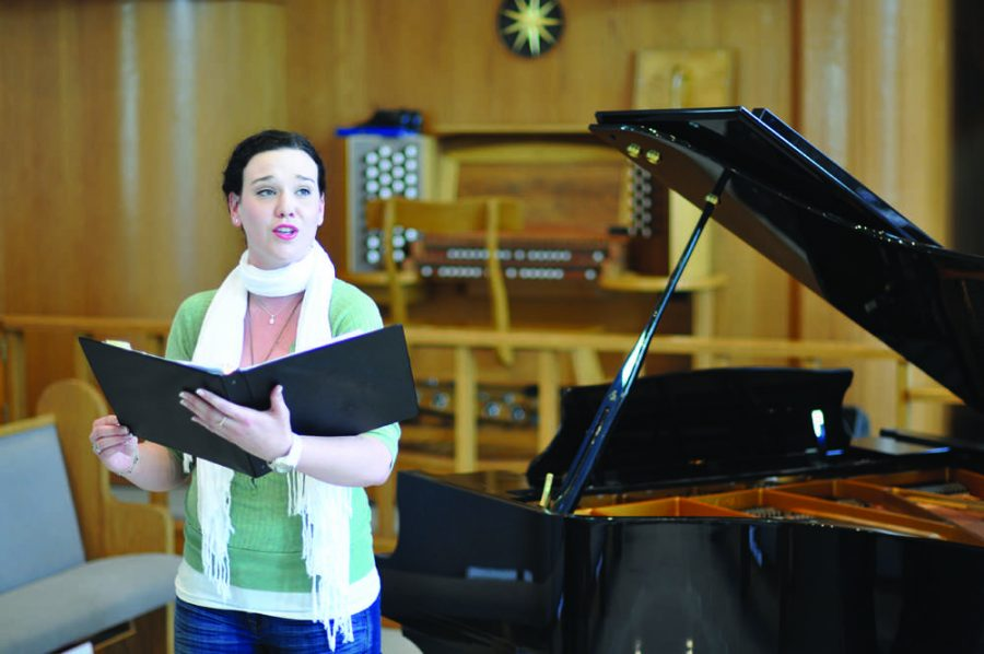 Lifestyles of the musically inclined:  Senior Kiersten Humphries reflects about the influence of family on her love of music and the strict rehearsal regimen for her senior recital. Photo by Alexa Boldt, Staff Photographer