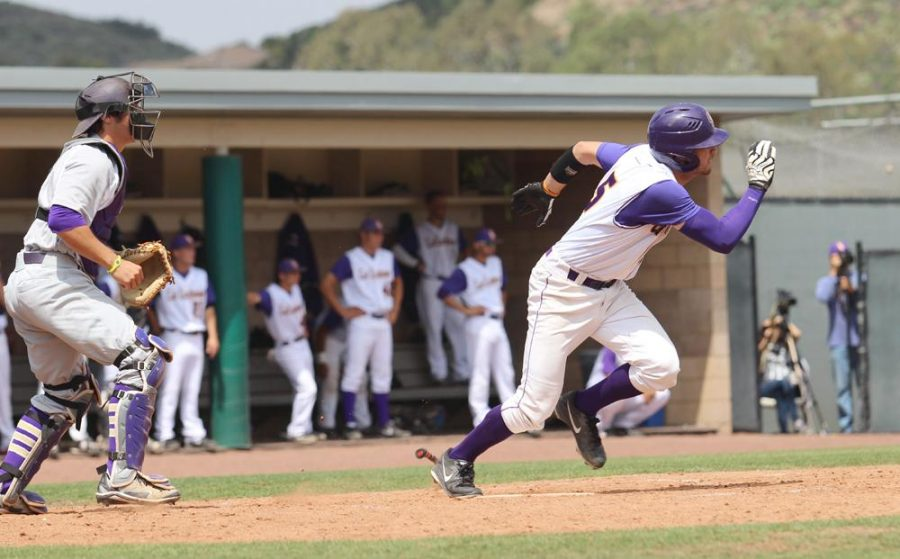 Playing their part: Nicho DellaValle went 4-13 this past weekend including a game-tying home run in the bottom of the ninth in Game 2. Trey Saito came on in relief in Game 2 throwing three shutout innings and striking out two. Photos by Courtney Nunez -  Staff Photographer