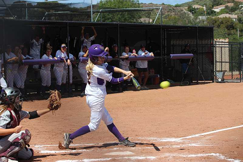 Power Outage: Shonna Christianson and the Regals were unable to manufacture any runs in both games against the Redlands on March 30 at Hutton Field. They mastered only 6 hits in the two 8-0 defeats. Photo by Isabella Del Mese-Staff Photographer