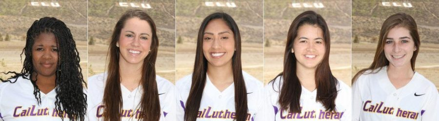From left to right: Katelyn Downing, Danika Green, Kelly Lockwood, Stephanie Martello and Kayla Sakamoto all played their last game for the violet and gold on April 26. Photos courtesy of CLU Sports