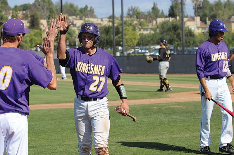 One is enough: Spencer Dubois scored the first run of the game against PLU on March 27 at George