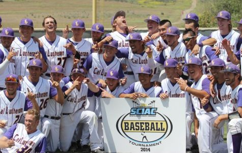 Back where they belong: Kingsmen baseball repeated as SCIAC champs for the first time since the 2000-01 seasons. Landry Kiyabu (below left) got CLU out of its biggest jam of the day in the sixth inning. Nicho DellaValle (below right) seen celebrating moments after the final out was made went 2-4 with two runs and an RBI in the championship game April 4 at Ullman Stadium. Photos by Courtney Nunez - Staff Photographer