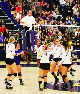 Sweet Victory: The Regals celebrate after winning a point. They are currently ranked second in the nation by the American Volleyball Coaches Association and have not lost a conference game since 2012. Photo by Charlotte Luisa - Staff Photographer