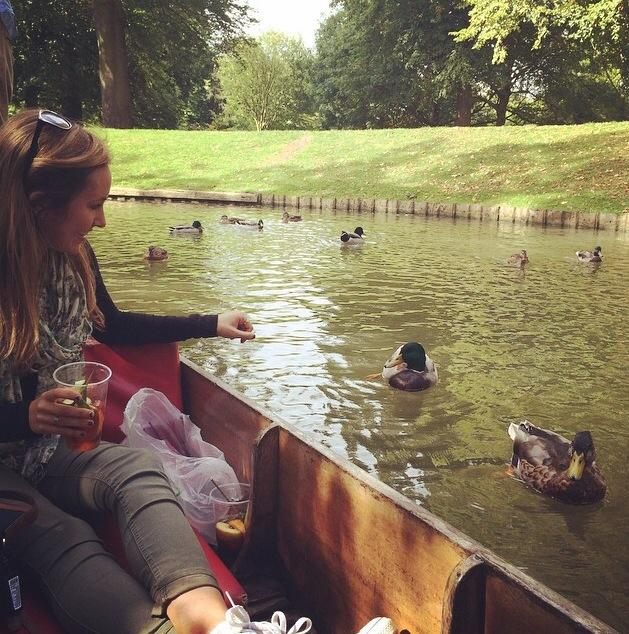 Top: Raleigh Stamper (left) and Chris Otmar (right) went for a bike ride in Barcelona, Spain.  Bottom: Savannah Robinson took a study break to punt down a river in England to feed the ducks. Photo courtesy of Savannah Robinson