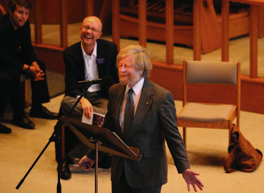 Concert time: Students at California Lutheran University watched music composer Morten Lauridsen perform with the Cal Lutheran choral ensemble and the Areté Vocal Ensemble.