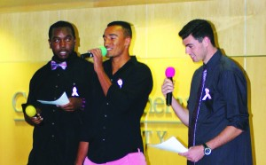 Men in pink: Jamell Dorton, Andrew Atakpo and Nolan Forghani were the emcees of the Lee Denim Day Men's Fashion Show, raising funds for breast cancer awareness. Photo by Charlotte Luisas - Staff Photographer