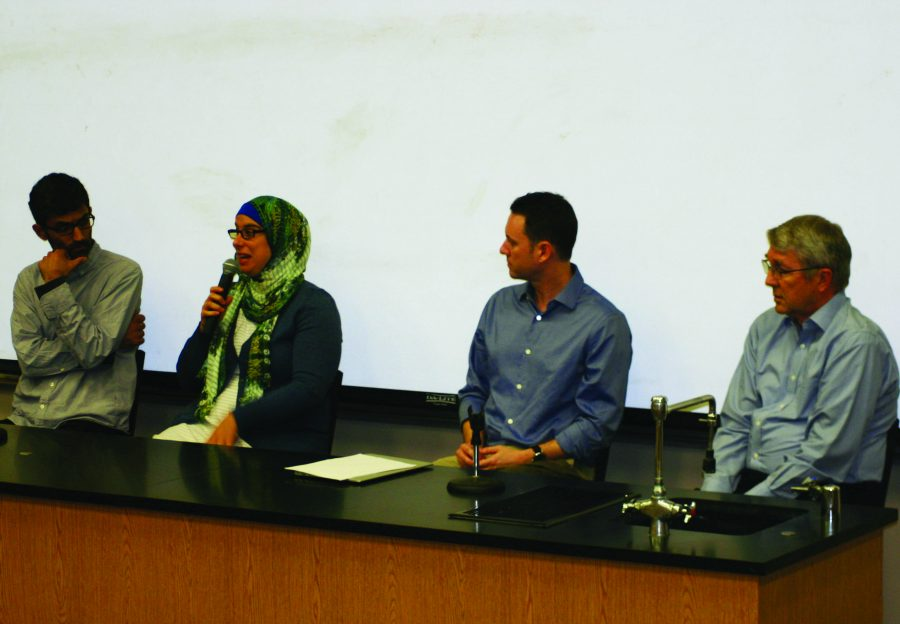Time to discuss: (from left to right) Sundar-Jovian Radheshwar, Rose Aslan, Ryan Medders and Paul Hanson answered questions the students had during the panel talk.  Photo by Charlotte Luisa - Staff Photographer