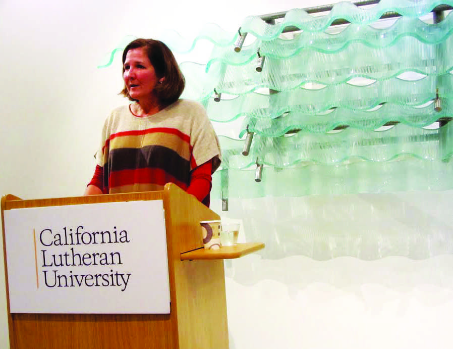 Poetry: Heather Winterer discussed poetry with California Lutheran University students at the William Rolland Gallery of Fine Arts.  Photo courtesy of Julie Griffin