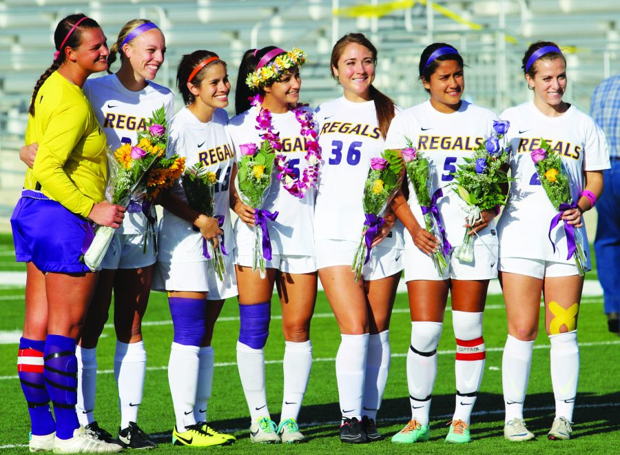 Honoring seniors: The Regals soccer team lost to Chapman 1-0 in their regular season final. (Picutred above L-R) Seniors Kristin Bailey, Heidi Ferkranus, Nancy Nunez, Alli Calabrese, Sierra Duarte, Yahaira Hernandez, and Kelly Morro were all honored before the game in a ceremony. Next for the Regals is the SCIAC tournament, where they will host Pomona-Pitzer on Nov. 5.   Photo by Andrea Whisler - Staff Photographer