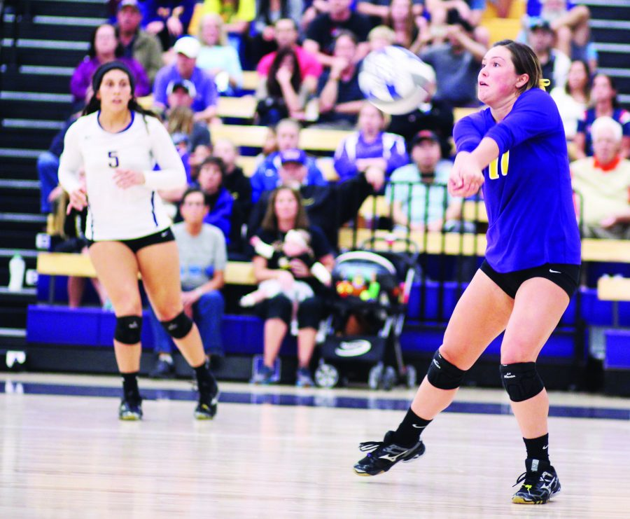 Sophomore libero Nicki Tetherow looks to bump the ball to a teammate.