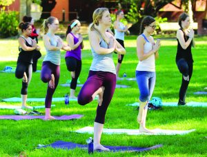 Inhale, exhale: The students listened to yoga instructor Lisa Wildermuth as they focused their energy on their breathing and balance while doing the tree pose. Photo by Andrea Whisler - Staff Photographer