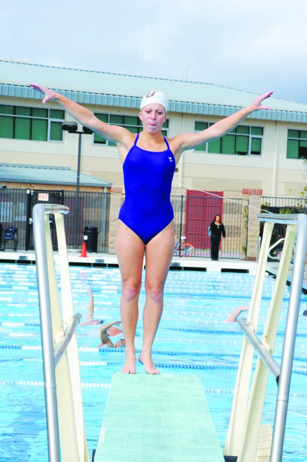 Riding the board: Sophomore diver Tianna Pasko won two events in the Regals' first SCIAC meet of their season.  Photo courtesy of Matt McClenathen - Assistant Sports Information Director