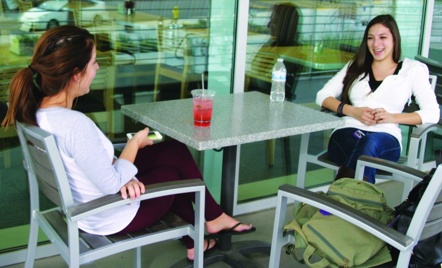 Expensive: Commuting seniors Jenn Johnston and Sandra Abarca drink sodas rather than pay for food on campus.