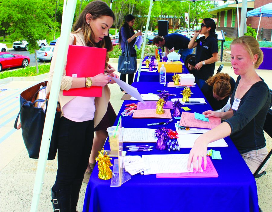 Jobs: Many students at Cal Lutheran came to the spine to try to get a job or an internship.  One hundred and eight employers were present at the Career and Intern Expo.