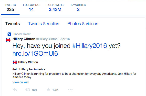 Presidential candidate Hillary Clinton has chosen a campaign strategy based online.   Photo courtesy of Hillary Clinton's campaign Twitter profile.