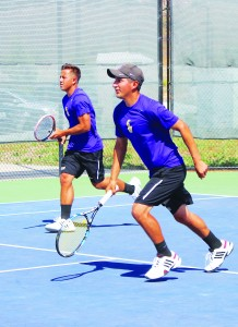 Doubels partners Moises Cardenas (right) and Jesse Knight (left) won their match 8-5 against Cal Tech.