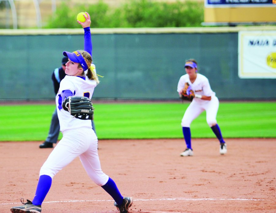 Senior Shonna Christianson pitched five innings and gave up two runs in Sunday's victory over Chapman.  Photos by Mary Case - Staff Photographer.