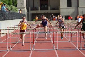 Junior Scout Gibson ran a 16.60 in the women's 100m hurdle event, putting her in ninth place.