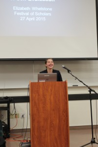 "Elizabeth Whetstone presented her research named ""Self-Introspection in Sidney's 'Astrophil and Stella'"" on April 27."