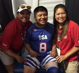 Hard at work: Head Athletic Trainer Kecia Davis (left) helps out a U.S. Olympic Athlete with a nurse from Children's Hospital Los Angeles.