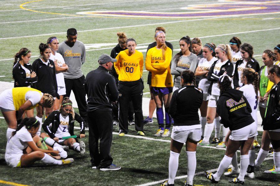 Head coach Frank Marino talks to his team following a win against Chapman.  Photo by Eric Duchanin - Staff Photographer
