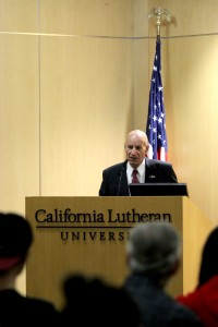 Dr. Arya A. Amirie spoke to CLU students on October 19, in Lundring Events Center, about hte Middle East and how ISIS can be defeated.  Photo by Karina Hernandez - Staff Photographer