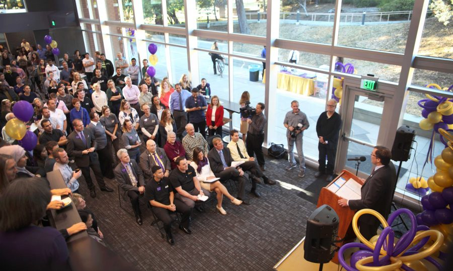 New additions: On Nov. 11, President Chris Kimball addressed the Cal Lutheran community who attended  the grand opening for the new Student Union building and the new Ahmanson Veteran Resource Office.  Photo by PK Duncan - Staff Photographer