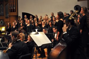 The CLU Choir, Women's Chorale and University Symphony performed to a packed Samuelson Chapel on Dec. 5. The show featured a combination of classical violin pieces, Christmas hymns and some contemporary Christmas classics.  Photo by Eric Duchanin - Staff Photographer