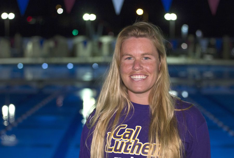 Redemption: One year after tearing her ACL, Katie Kochalko had a breakout season for the Regals, setting a Cal Lutheran record for the 200 individual medley in 2014-2015.   Photo by Brady Mickelson - Staff Photographer