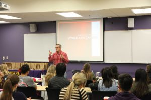 Eric Kamm, who has been HIV positive for 15 years, presented the facts and misconceptions about HIV to students. Photo by PK Duncan - Staff Photographer