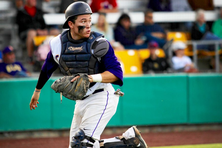 Junior catcher Eddie Villegas was 2-4 with an RBI in the Kingsmen's Feb. 26 victory over Chapman. Photo by Roman Valenzuela - Staff Photographer
