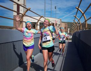 ASCLUG and Cal Lutheran Student Life hosted the 5k Color Dash Saturday Feb. 27. Although there was no color thrown in the air, there was still plenty of color on the runners.  Photo by Eric Duchanin - Senior Photographer