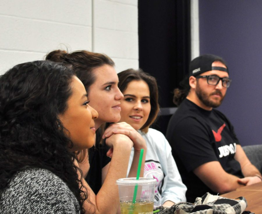 Students listen as current Resident Assistants explain the selection process to those interested in applying for a campus leadership role as an RA.  Photo by Amanda Marston - Staff Photojournalist