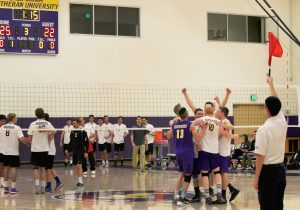 After losing their first eight games, the Kingsmen volleyball team celebrates after putting together a dominant performance against Moorpark College.  Photo by Jackie Rodriguez - Staff Photographer