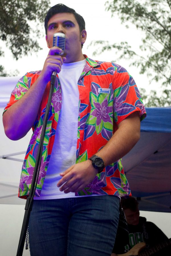 Justin Meek, lead singer of Jukebox, performs an array of rock tunes at the 2016 Cal Lu Palooza. Photo by Eric Duchanin - Senior Photographer