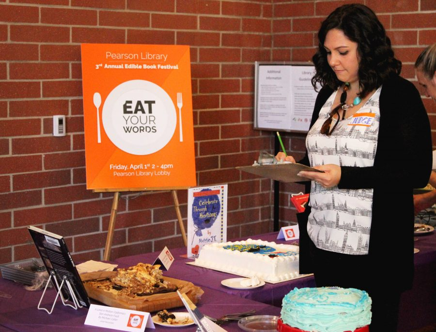 Five contestants participated in the 3rd annual edible book contest at Cal Lutheran. Judge Chiara Lamb observed and tasted the baked goods and decided which participant would be named
