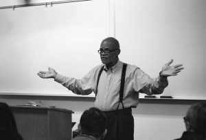 Professor of Political Science Gregory Freeland said all of his classes include discussions of race, racism and social justice but he felt it was important to take pause and participate in the nationwide Scholar Strike. The Scholar Strike was a nationwide teach-in on antiracism.   Photo from 2016.