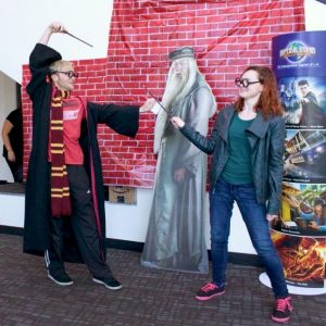 On Saturday, April 9th, iCLU Radio hosted Potterfest, a Harry Potter party. Students were able to dress up in their favorite Harry Potter apparel and take Harry Potter themed photos. Photo by Kamehana Lee - Staff Photographer