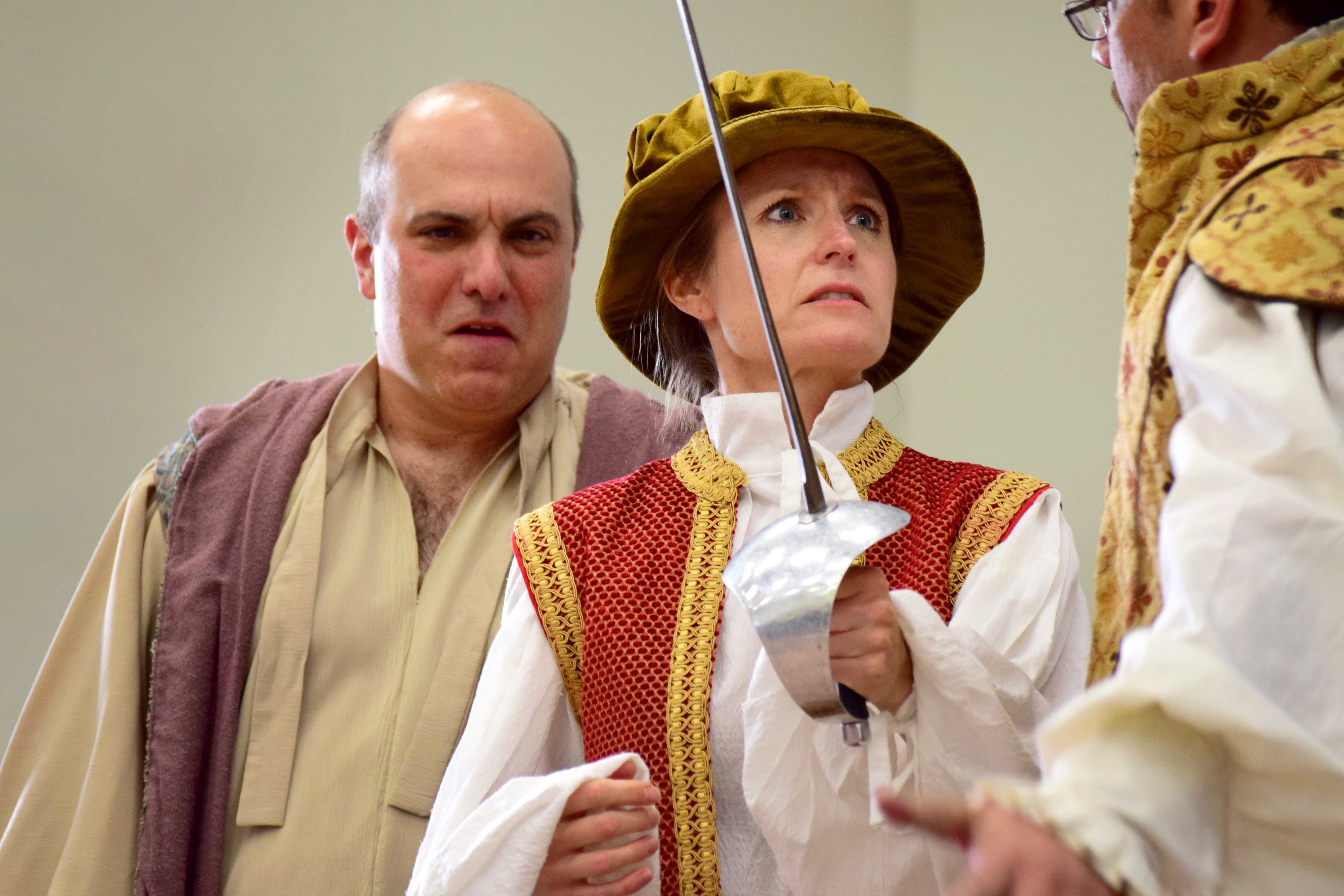 "Matt Henerson (left), Jane Elliott (middle) and Jason Rennie (right) perform a scene from Shakespeare's""12th Night,"" at the Kingsmen Shakespeare 400-20 Celebration.  Photo by Roman Valenzuela - Staff Photographer"