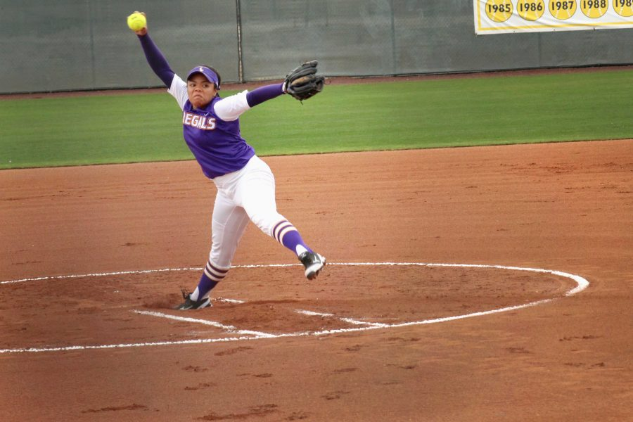 Junior pitcher Nicole White-Madolara gave up just one run in 3.1 innings of work in the second game of the doubleheader on April 10. Photo by Kamehana Lee - Staff Photographer