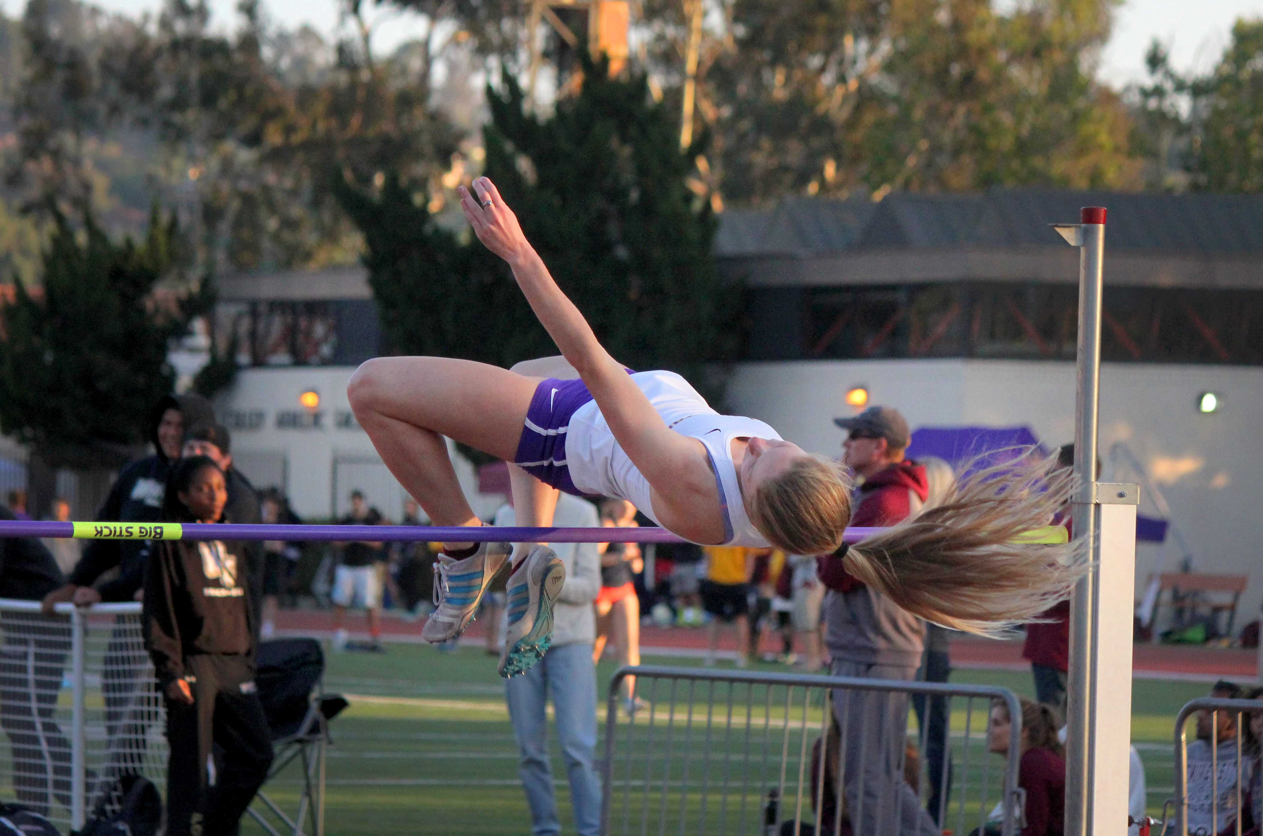 Sophomore Carlie Burow placed third in the High Jump with a height of 1.52m on day two of the SCIAC Championships to help her team in their third place finish. Photo by Madi Schmader - Staff Photographer